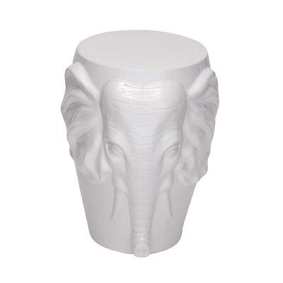 Marko Ceramic Elephant Accent Stool Color: White