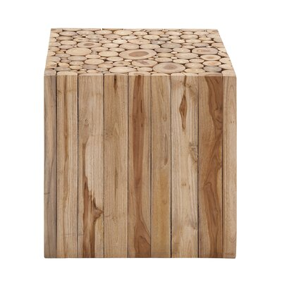 Teak Wood Square Accent Stool