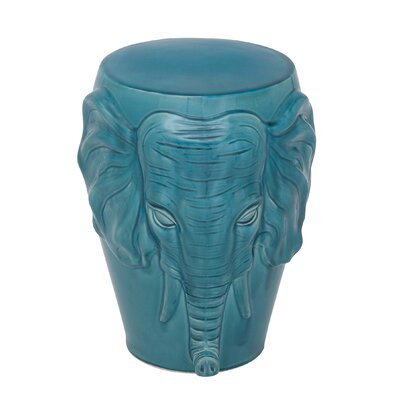 Marko Ceramic Elephant Accent Stool Color: Turquoise