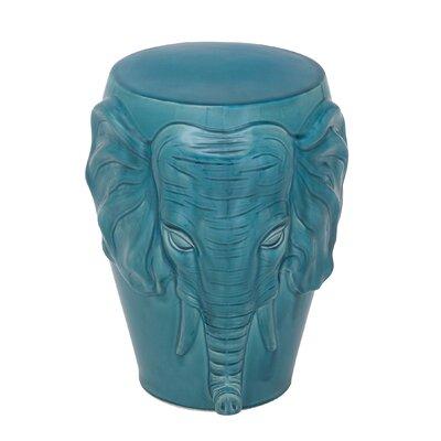 Marko Ceramic Elephant Accent Stool Color: Turquoise