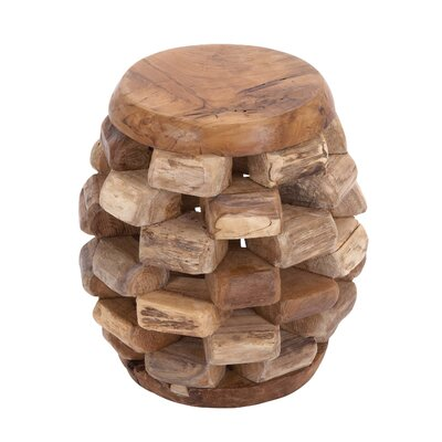 Cole & Grey Wood Teak Stool