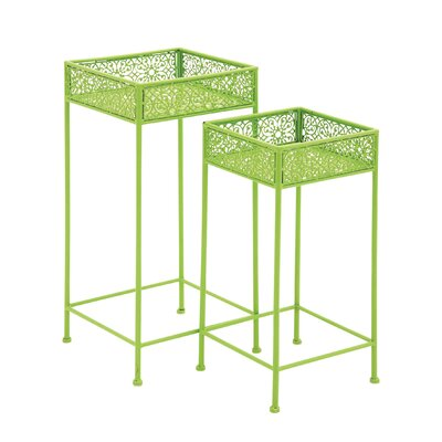 2 Piece Plant Stand Set Color: Green