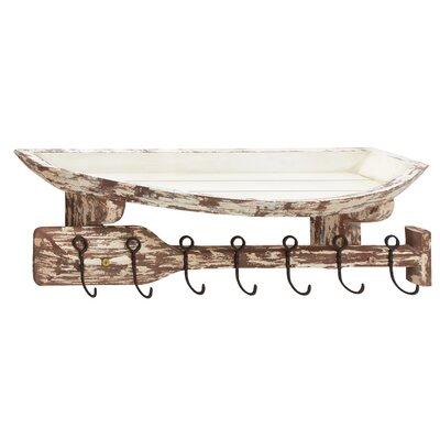Wood and Metal Wall Hook Shelf