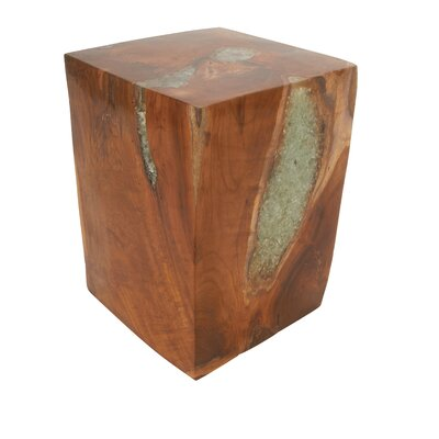 Teak and Resin Accent Stool