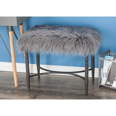 Metal Faux Fur Accent Stool