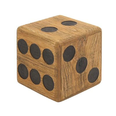 Teak Wood Dice Accent Stool