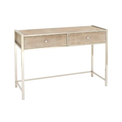 Stainless Steel and Wood Console Table
