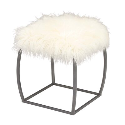 Metal Fur Stool Color: White