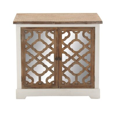 2 Door Wood Mirror Accent Cabinet