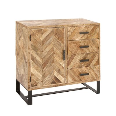 1 Door 4 Drawer Wood Side Board Accent Cabinet