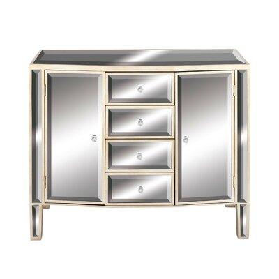2 Door 4 Drawer Wood Mirror Accent Cabinet