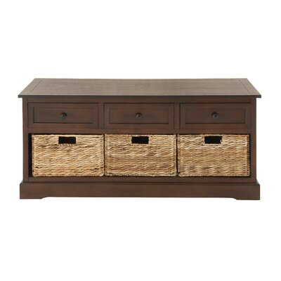 6 Drawer Wood Wicker Basket Accent Chest