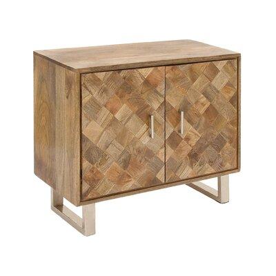 2 Door Wood and Metal Accent Cabinet