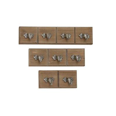 3 Piece Wood/Metal Wall Mounted Coat Rack Set Finish: Light Mahogany Brown/Silver