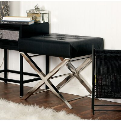 Stainless Steel and Tufted Leather Vanity Stool Color: Black