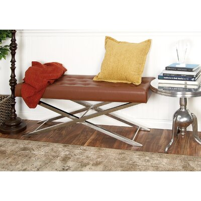 Metal and Leather Bench Upholstery Color: Brown