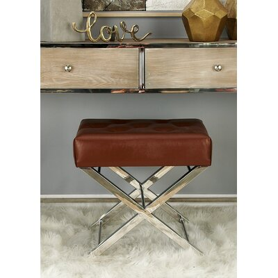 Stainless Steel and Tufted Leather Vanity Stool Color: Brown