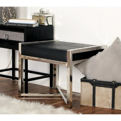 Stainless Steel Leather Stool Color: Black
