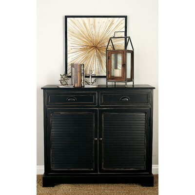 2 Door 2 Drawer Wood Accent Cabinet Color: Black