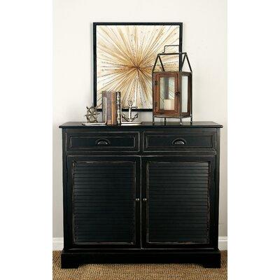 2 Door 2 Drawer Wood Accent Cabinet Color: Black