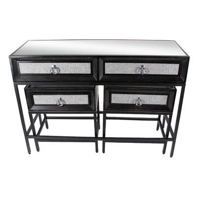 3 Piece Console Table Set Table Top Color: Gray, Table Base Color: Black