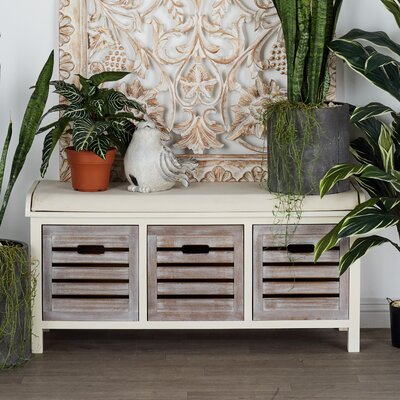 Wooden Storage Bench Color: Antique White/Gray