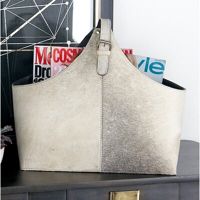 Wood and Leather Hide Magazine Holder Color: Gray