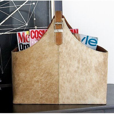 Wood and Leather Hide Magazine Holder Color: White/Brown