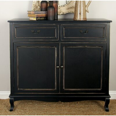 Hargrave Wood 2 Drawer 2 Door Accent Cabinet Color: Black