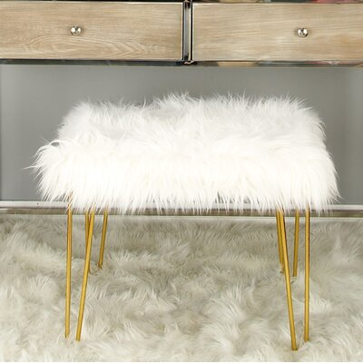 Metal Fur Accent stool Finish: Gold