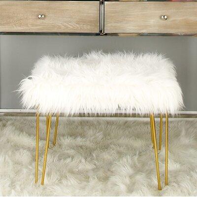 Metal Fur Accent stool Finish: Gold
