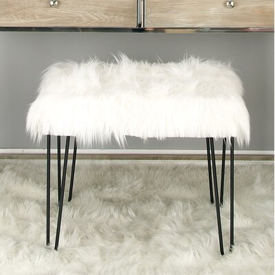 Metal Fur Accent stool Finish: Black