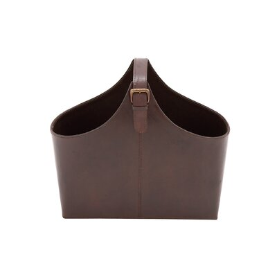Wood Real Leather Magazine Holder Color: Brown
