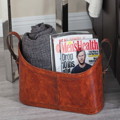 Real Leather Magazine Rack Color: Red Brown
