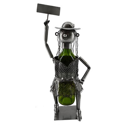 Hippie Lady Holding Sign 1 Bottle Tabletop Wine Bottle Rack