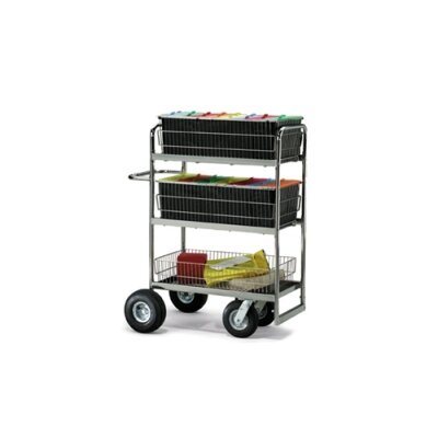 Triple-Decker Wire Basket File Cart Wheel Type: Air Casters / Tires