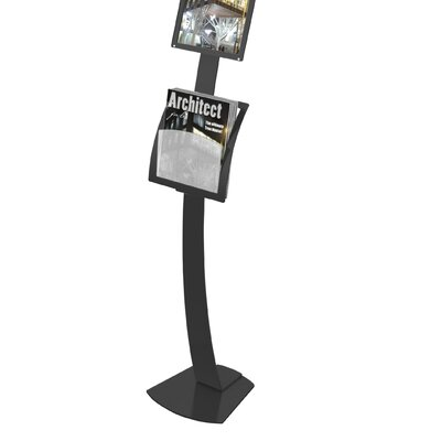 Contemporary Sign Stand Magazine Holder Add-On Pocket Color: Black