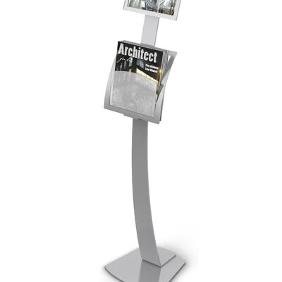 Contemporary Sign Stand Magazine Holder Add-On Pocket Color: Silver