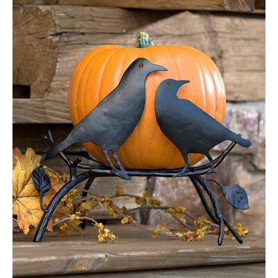 Halloween Pumpkin Holder with Ravens on Branch