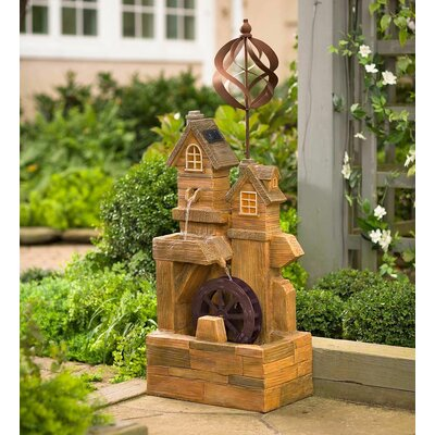 Resin Solar Watermill Fountain Spinner with Light