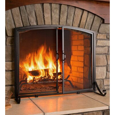 Arched Top Flat Guard 2 Panel Steel Fireplace Screen Finish: Black, Size: Large