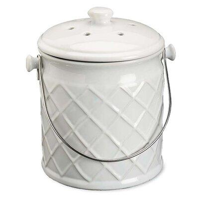 Lattice Ceramic Crock 1 Gal. Kitchen Composter Color: White