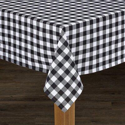 """Andreas Check Tablecloth Size: 52"""" L x 52"""" W, Color: Black"""