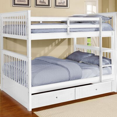 Vicky Full Over Full Bunk Bed with Trundle Color: White