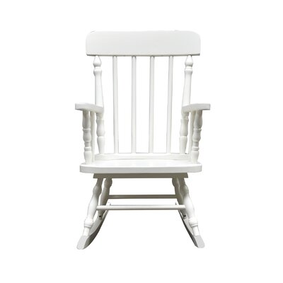 Della Kid's Solid Pine Wood Rocking Chair Color: White