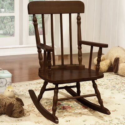 Della Kid's Solid Pine Wood Rocking Chair Color: Espresso