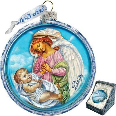 Holiday Splendor Guardian Angel Ball Scenic Glass Ornament