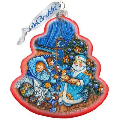 Holiday Splendor Christmas Night Wreath Scenic Glass Ornament