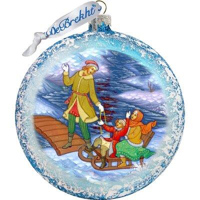 Holiday Splendor Palekh Family Scenic Glass Ornament