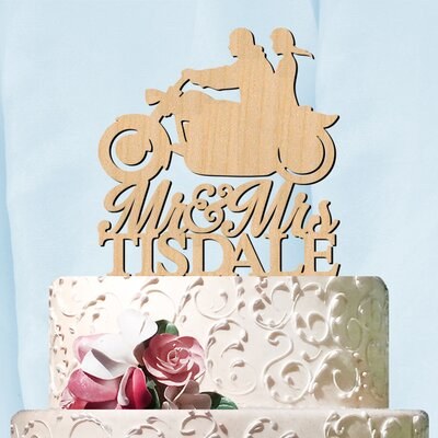 Personalized Mr and Mrs Motorcycle with Name Cake Topper